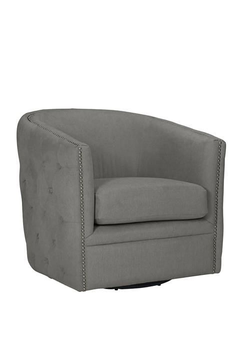 Handy Living Cheston Button Tufted Swivel Chair in