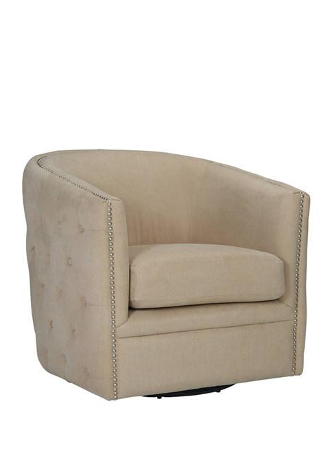 Cheston Button Tufted Swivel Chair in Plush Low-Pile Velvet