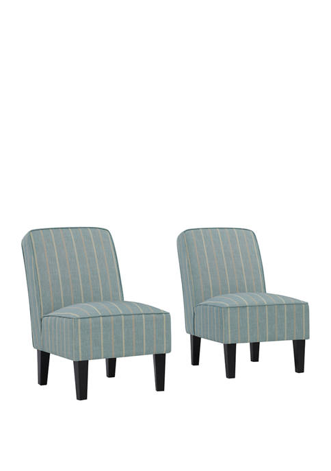 Set of 2 Brodee Armless Accent Chairs in Stripes