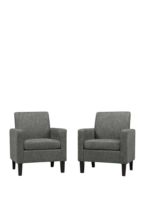 Set of 2 Joleen Track Arm Chairs in Multi Warp Chenille