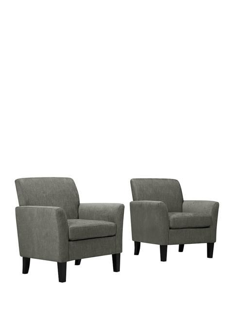Set of 2 Maritza Flared Arm Chairs in Herringbone
