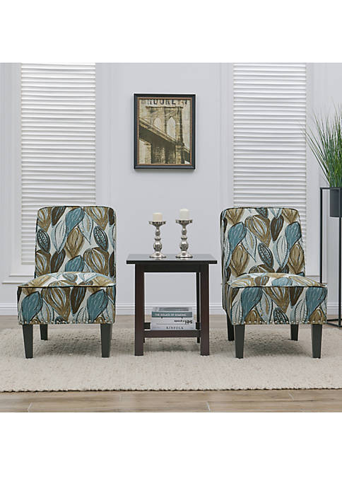 Handy Living Brodee Chair Blue Leaf Set of
