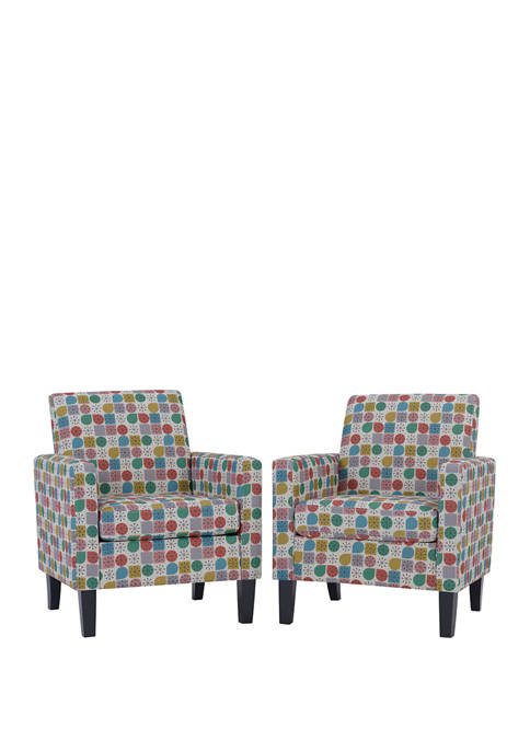 Set of 2 Joleen Track Arm Chairs in Starlight Modern Print