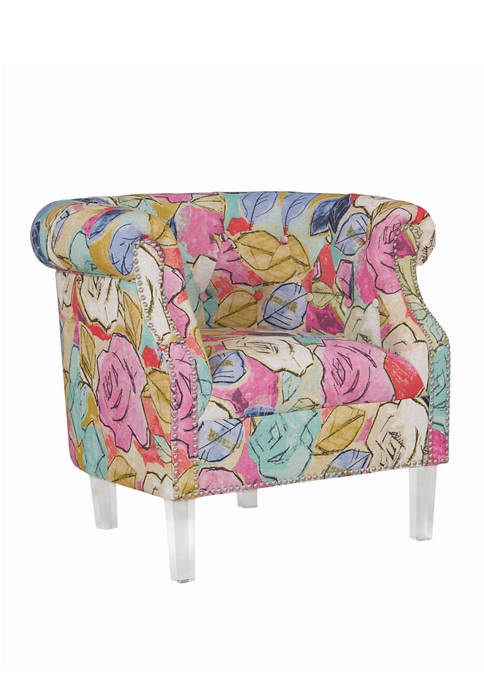 Handy Living Chesterfield Chair in Multi Abstract Floral