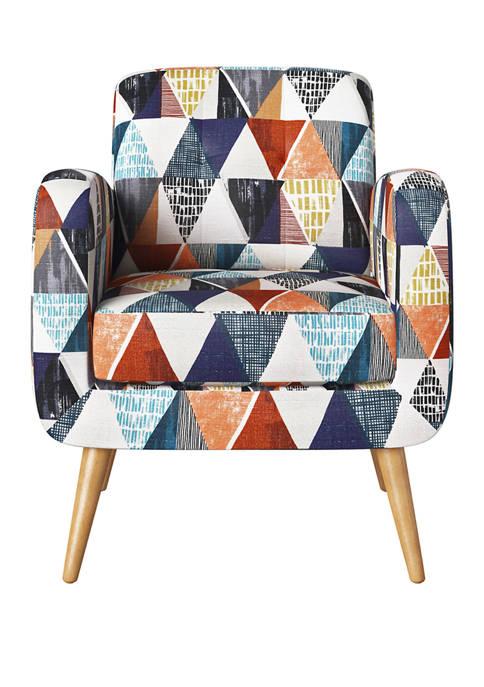 Kingston Mid Century Modern Armchair in Blue Multi Kite Print