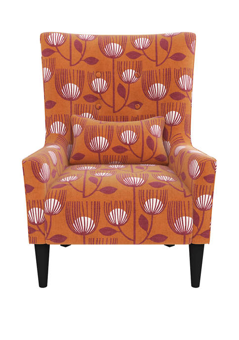 Venecia Shelter High Back Wing Chair in Orange Modern Tulip Print