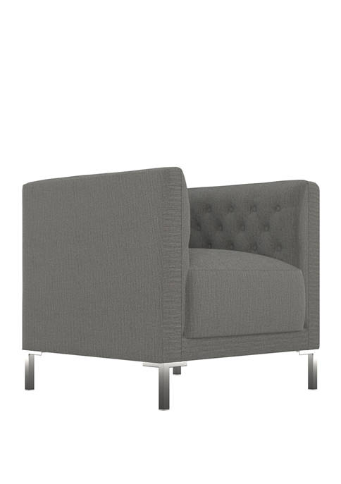 Bronson Button Tufted Club Chair in Smoke Gray Herringbone