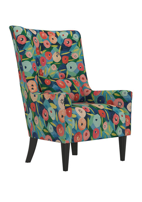 Venecia Shelter High Back Wing Chair in Poppy Vibrant Floral