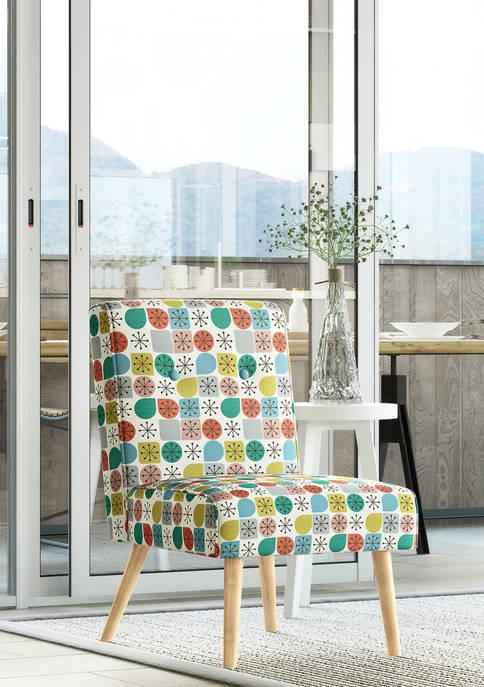 Wilbur Button Tufted Armless Chair in Starlight Modern Print