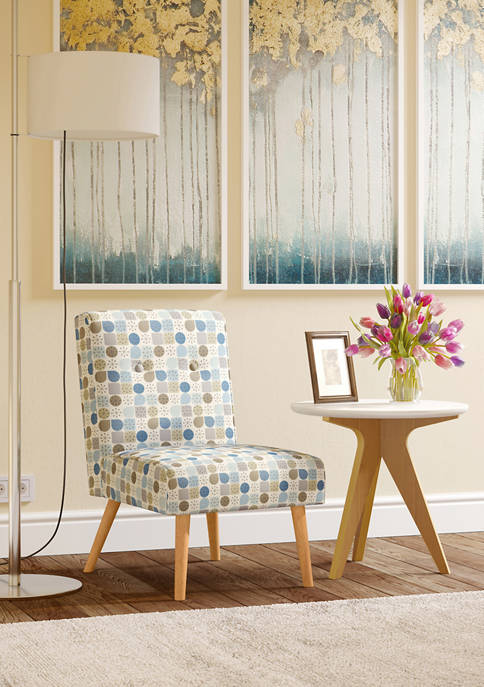 Wilbur Button Tufted Armless Chair in Starlight Modern Print