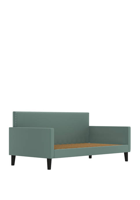 Upholstered Twin Size Square Back Daybed in Velvet