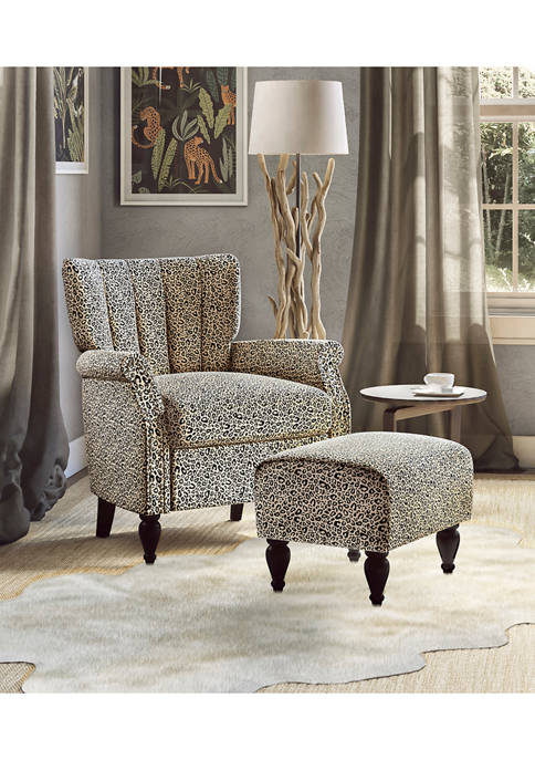 Handy Living Channel Tufted Rolled Armchair and Ottoman