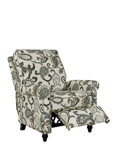ProLounger Push Back Recliner Chair in Blue Paisley Linen