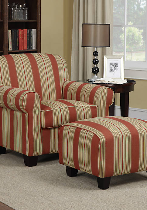 Handy Living Winnetka Arm Chair and Ottoman Crimson