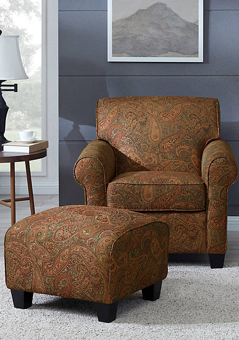 Handy Living Winnetka Arm Chair and Ottoman Paisley
