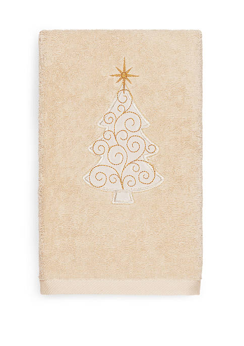 Linum Home Textiles Christmas Scroll Tree Embroidered Luxury