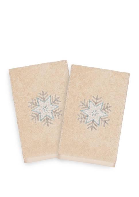 Christmas Crystal Embroidered Luxury Turkish Cotton Hand Towel Set of 2