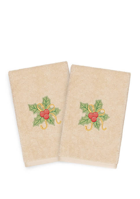Christmas Holly Bunch Embroidered Luxury Turkish Cotton Hand Towel Set of 2
