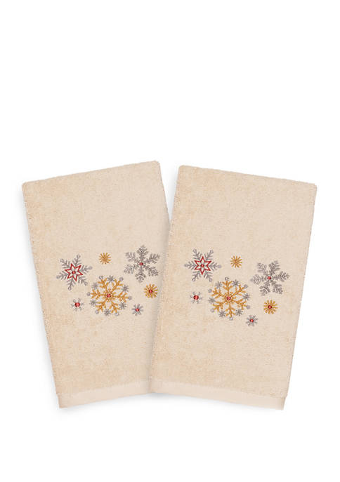 Linum Home Textiles Christmas Snowfall Embroidered Luxury Turkish