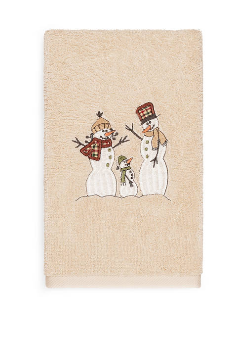 Linum Home Textiles Christmas Snow Family Embroidered Luxury