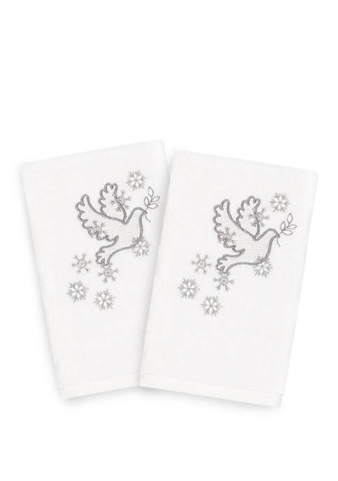 Linum Home Textiles Christmas Dove Embroidered Luxury Turkish