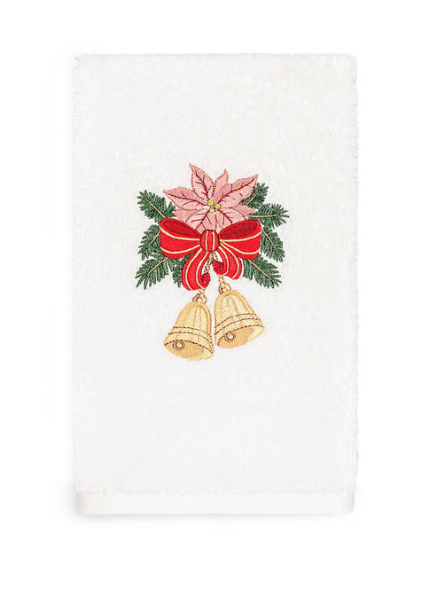 Christmas Bells Embroidered Luxury Turkish Cotton Hand Towel