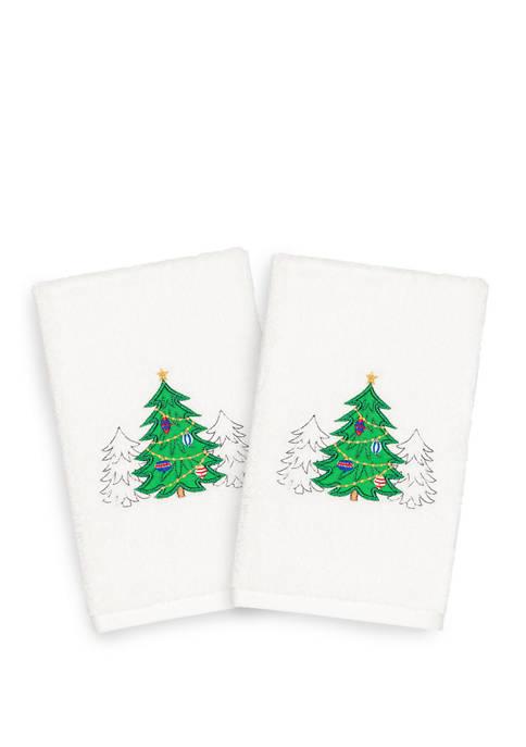 Christmas Three Trees - Embroidered Luxury Turkish Cotton Hand Towel Set of 2