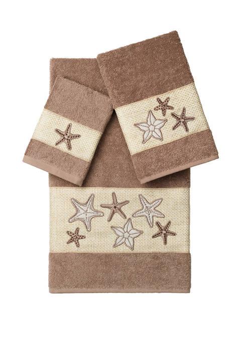 Linum Home Textiles Lydia 3 Piece Embellished Towel
