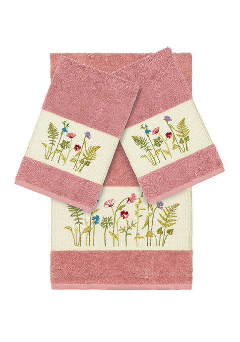 Linum Home Textiles Serenity 3 Piece Embellished Towel