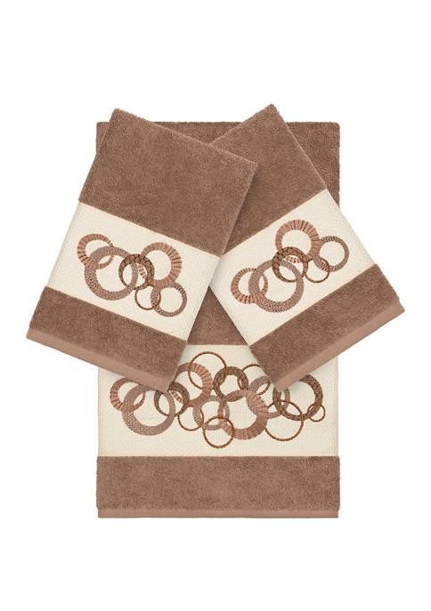 Linum Home Textiles Annabelle 3 Piece Embellished Towel