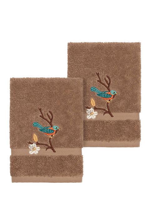 Spring Time Set of 2 Embellished Washcloths