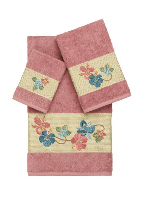 Linum Home Textiles Caroline 3 Piece Embellished Towel