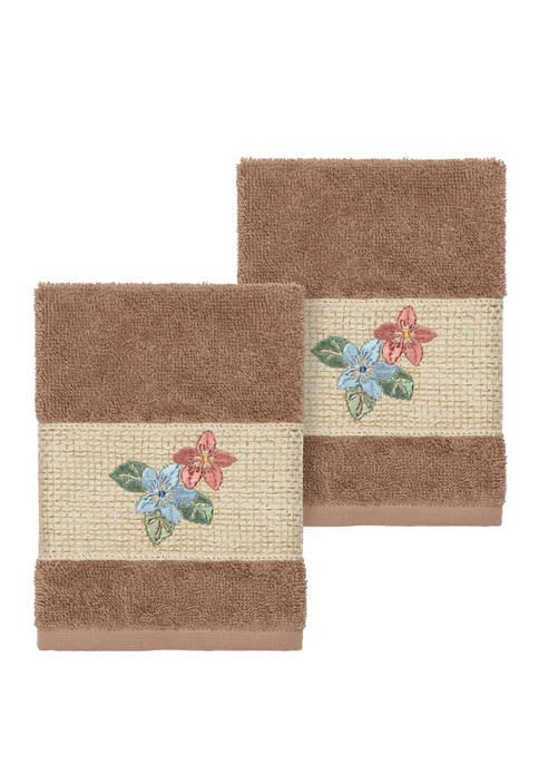 Linum Home Textiles Caroline 2 Piece Embellished Washcloth