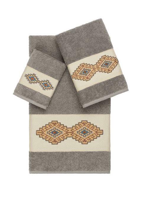 Linum Home Textiles Gianna 3 Piece Embellished Towel