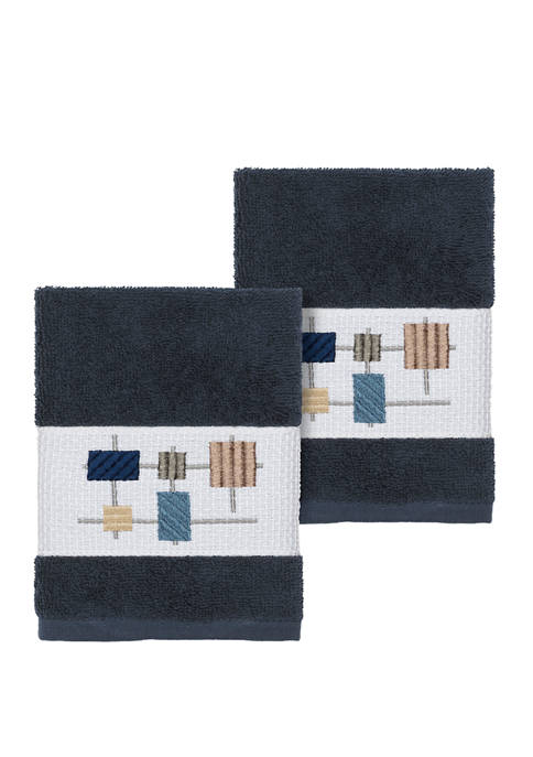 Linum Home Textiles Khloe 2 Piece Embellished Washcloth
