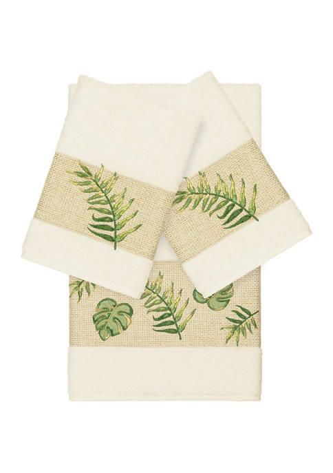 Linum Home Textiles Zoe 3 Piece Embellished Towel