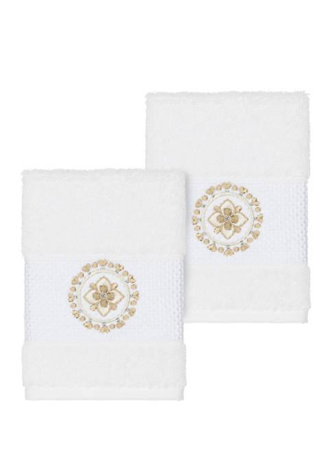 Linum Home Textiles Isabelle 2 Piece Embellished Washcloth