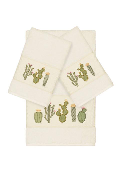 Linum Home Textiles Mila 3 Piece Embellished Towel