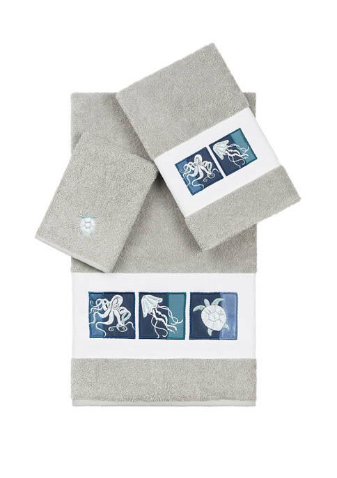 Linum Home Textiles Ava 3 Piece Embellished Towel
