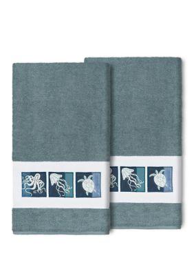 Linum Home Textiles Ava 2 Piece Embellished Bath Towel Set