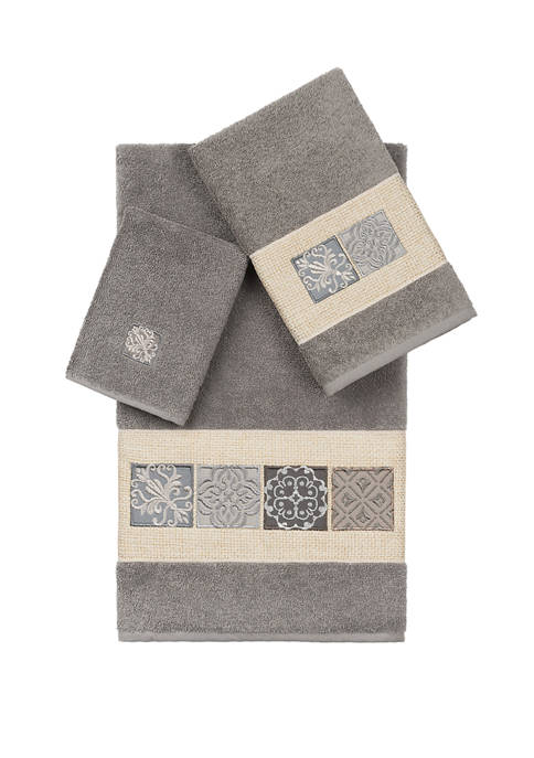 Linum Home Textiles Vivian 3 Piece Embellished Towel