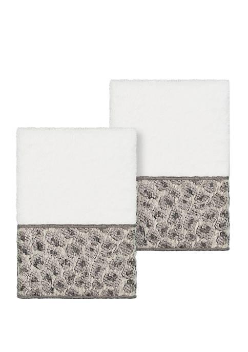 Linum Home Textiles Spots 2 Piece Embellished Washcloth