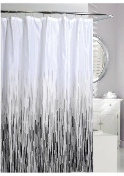 MODA Greyscale Rain Fabric Shower Curtain