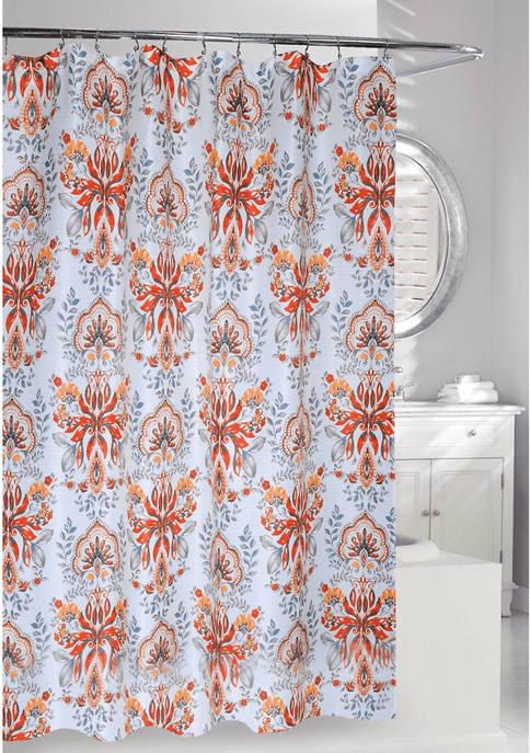 Leaf Motif Fabric Shower Curtain