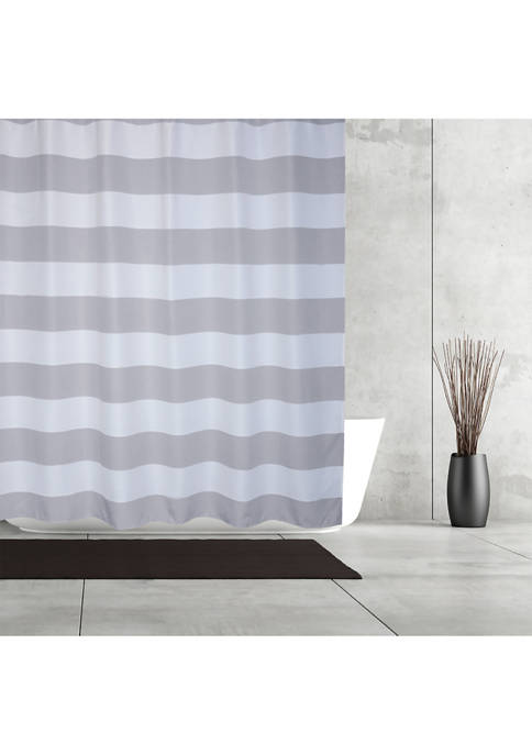 Queen Stripe Fabric Shower Curtain
