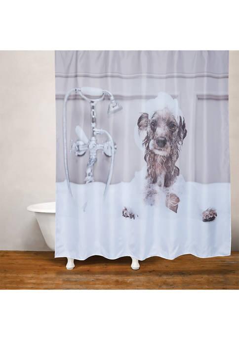 MODA Dog Bath Fabric Shower Curtain
