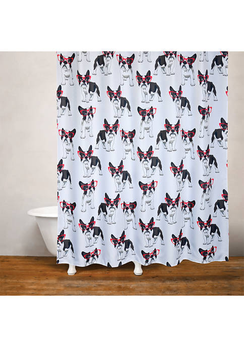 MODA Cool Frenchie Fabric Shower Curtain