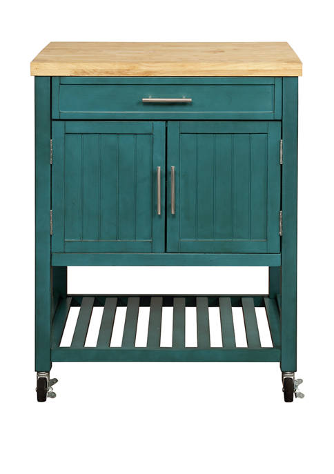 Powell Company Maggie Teal Kitchen Cart