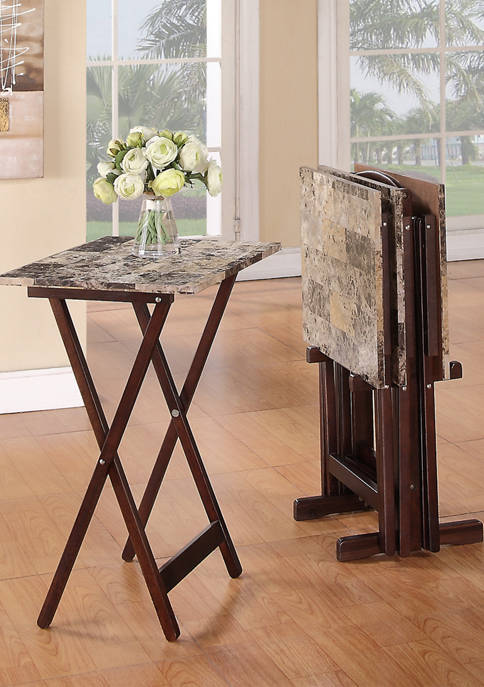 Noel Brown Faux Marble Tray Table Set