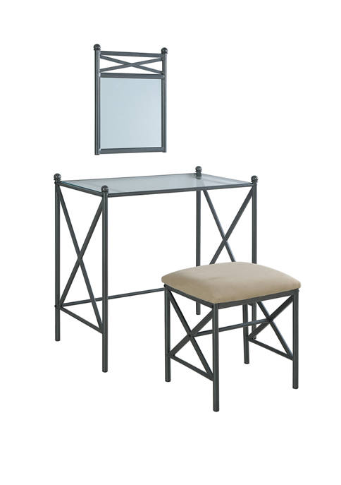 Linon Home Décor Products Andrews Metal Vanity Set